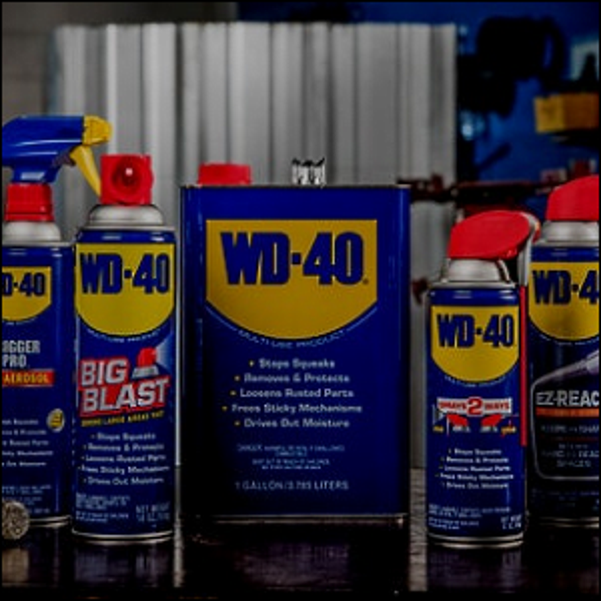 A group of various WD-40 brand products.