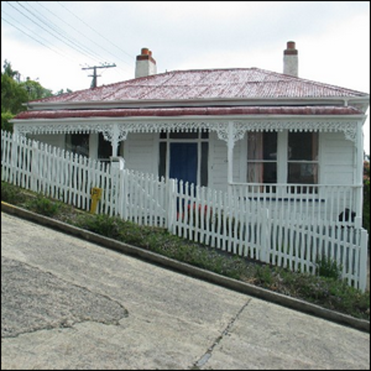 Photo of a house on Baldwin Street, the steepest street in the world.