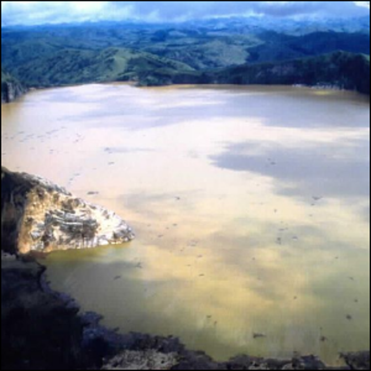 Lake Nyos, Cameroon shortly after a limnic eruption in 1986.