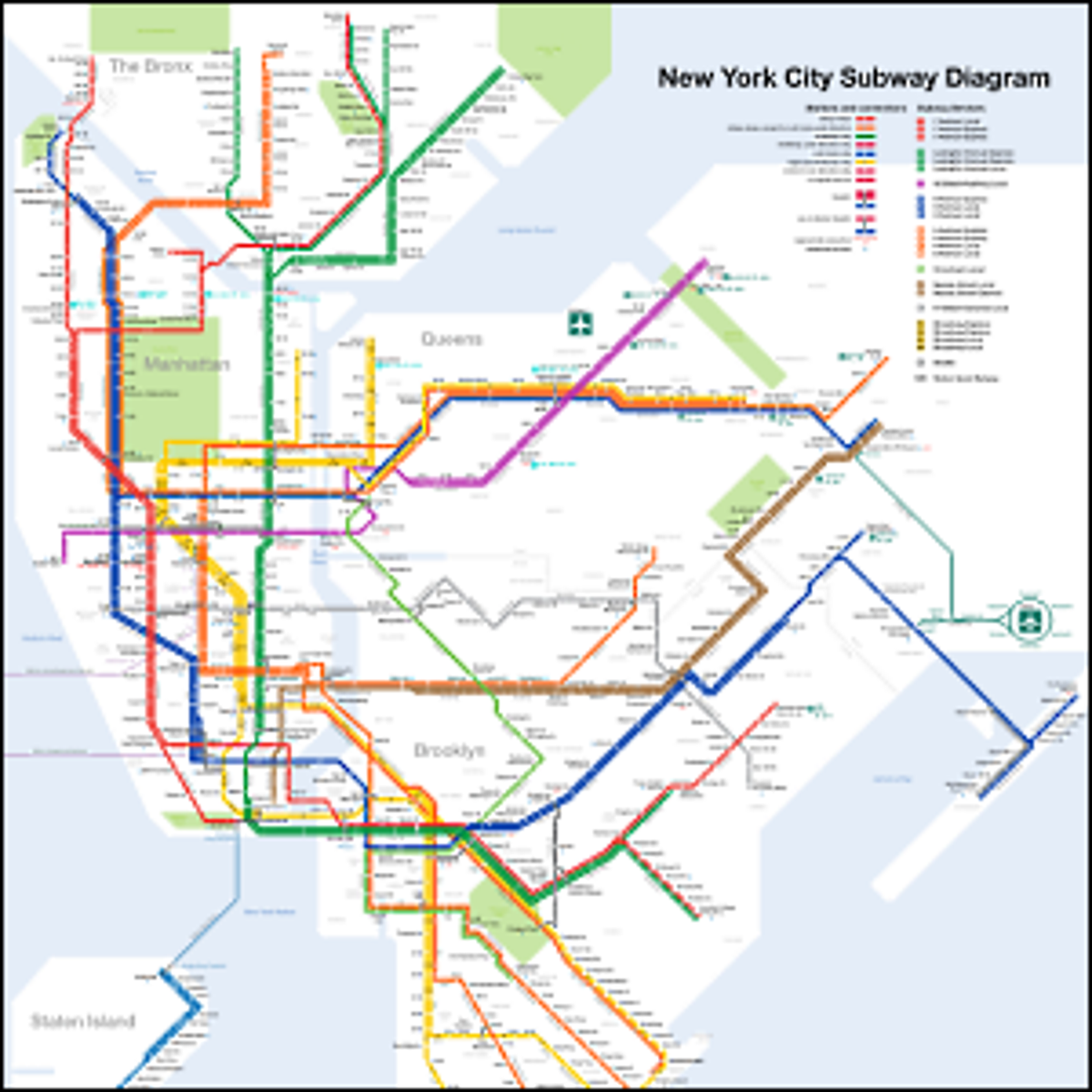 A modern map of the New York City Subway system.