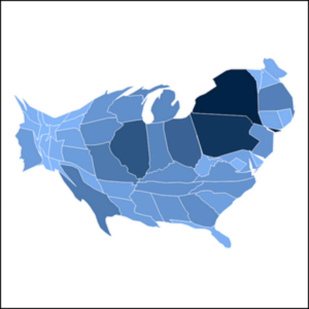 The population of the Unites States, circa 1900, presented in cartographic form.