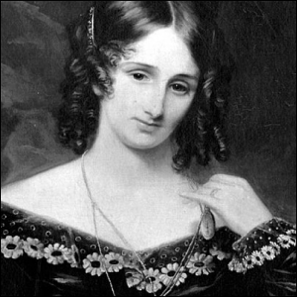 A portrait of Mary Shelley, author of the Gothic novel Frankenstein.