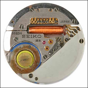 Internal view of a Seiko Astron quartz watch, introduced in 1969.