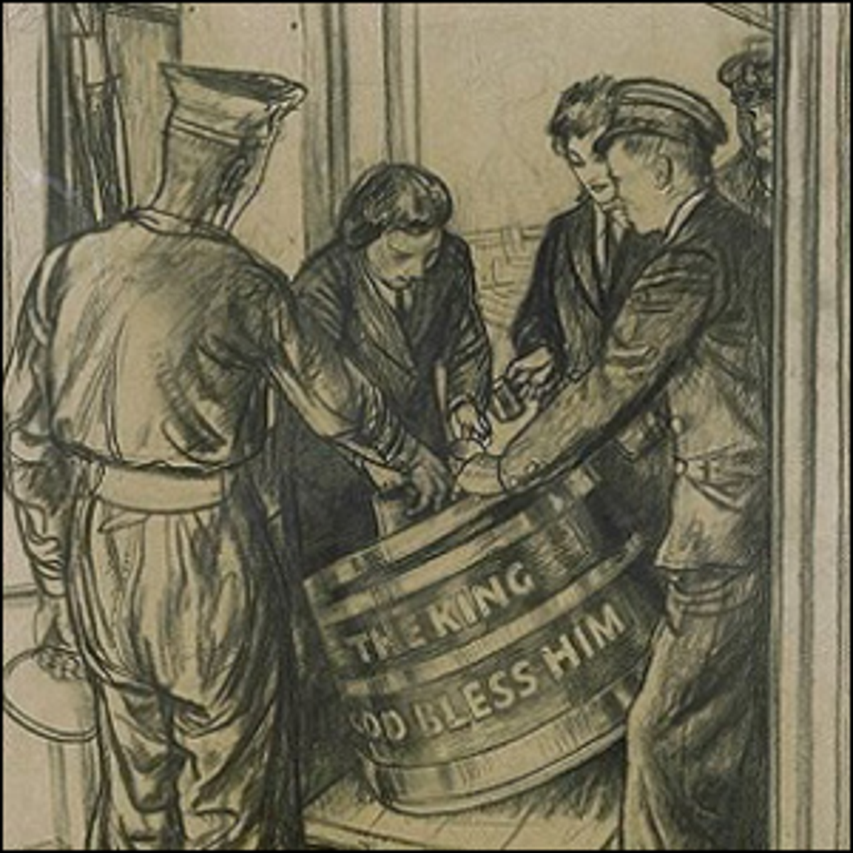 Illustration of Wrens during World War II serving rum to a sailor from a tub.