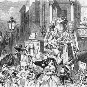 A May 1859 cartoon depicting Moving Day in New York City.