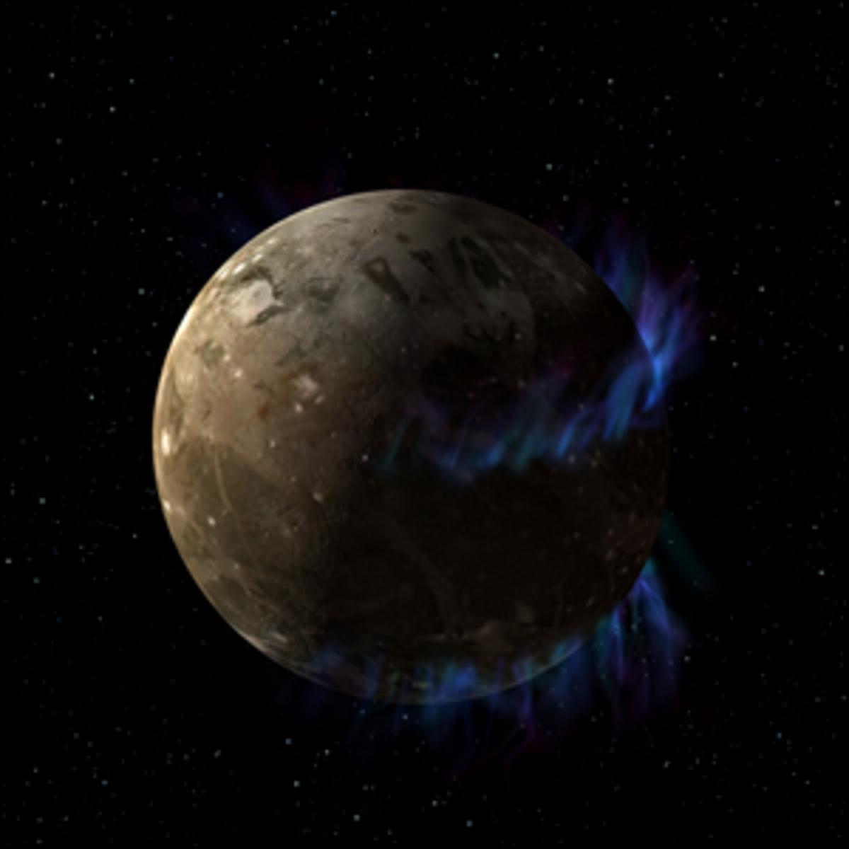 An artist's illustration of the moon Ganymede as it orbits the giant planet Jupiter.