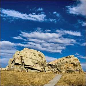 A glacial erratic situated between the towns of Okotoks and Black Diamond, Alberta, Canada.