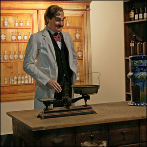 The drugstore of Caleb Bradham as portrayed in an exhibition in the Historical Museum Bern.