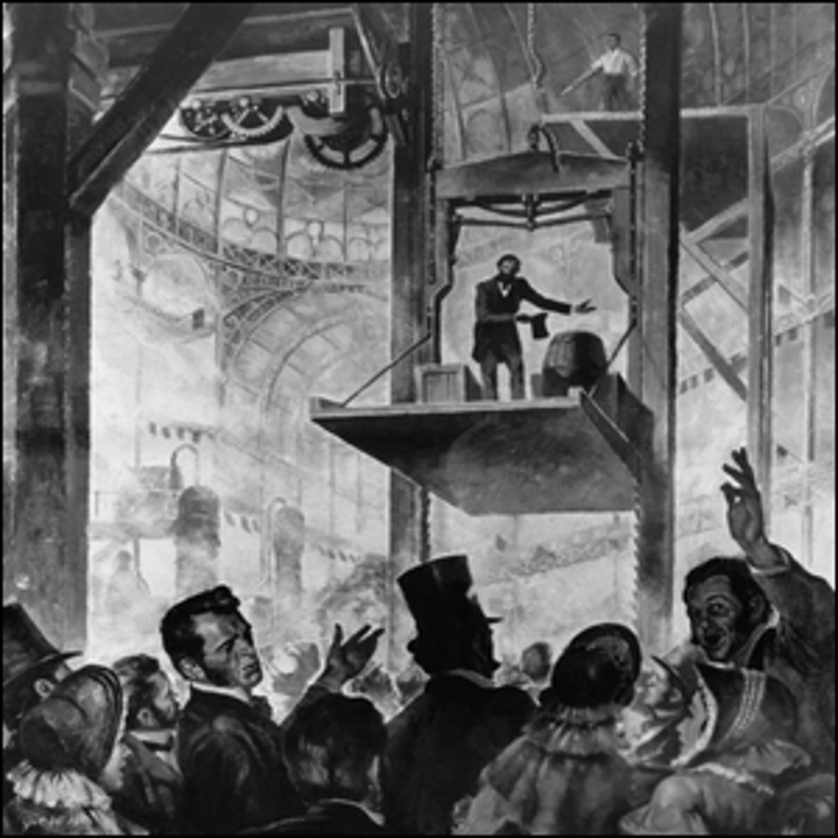 An illustration of Elisha Otis' demo of his free-fall prevention mechanism in 1854.