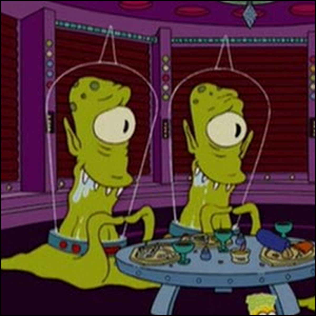 Kang and Kodos, the aliens from The Simpsons' annual Treehouse of Horror episodes.