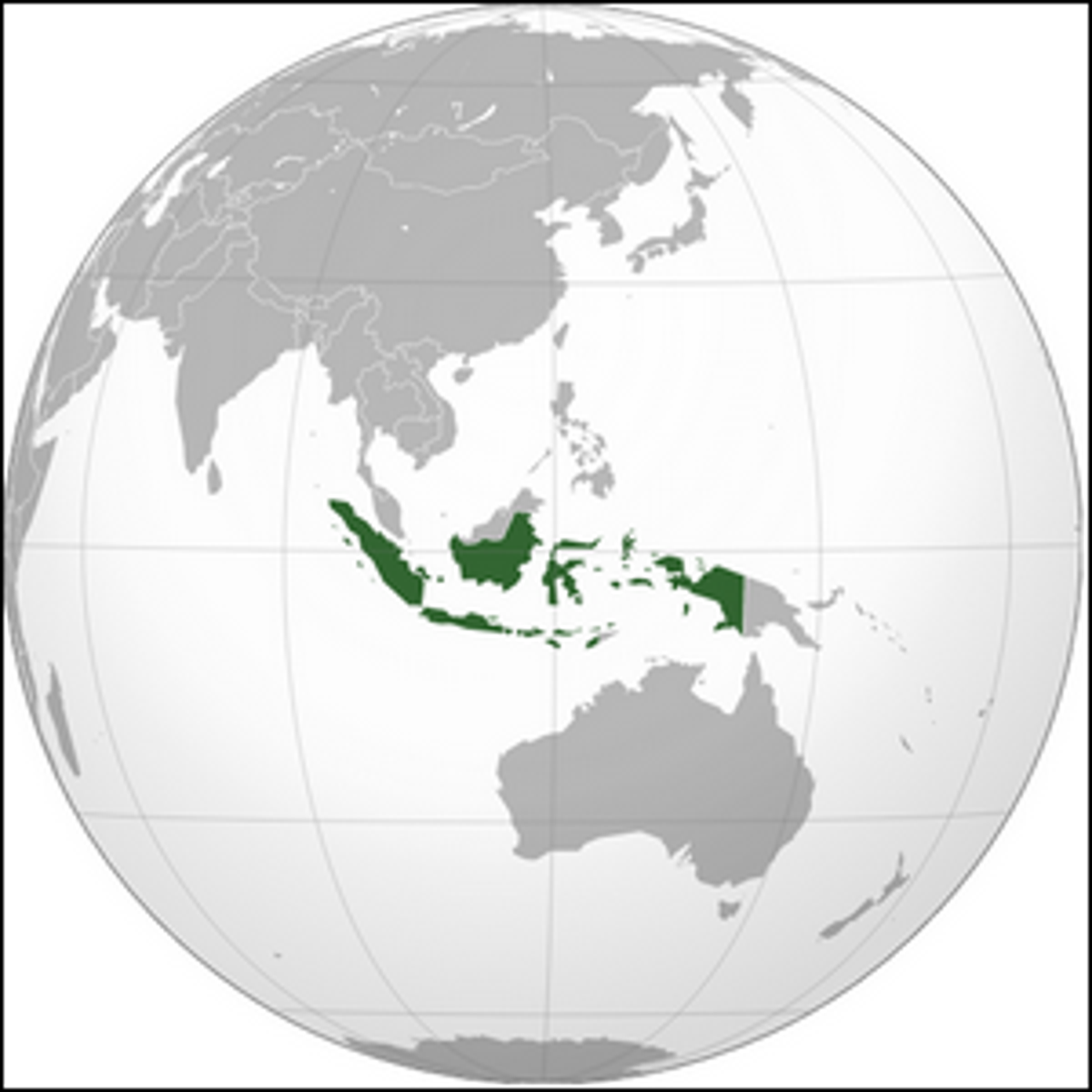 An orthographic projection map of Indonesia.