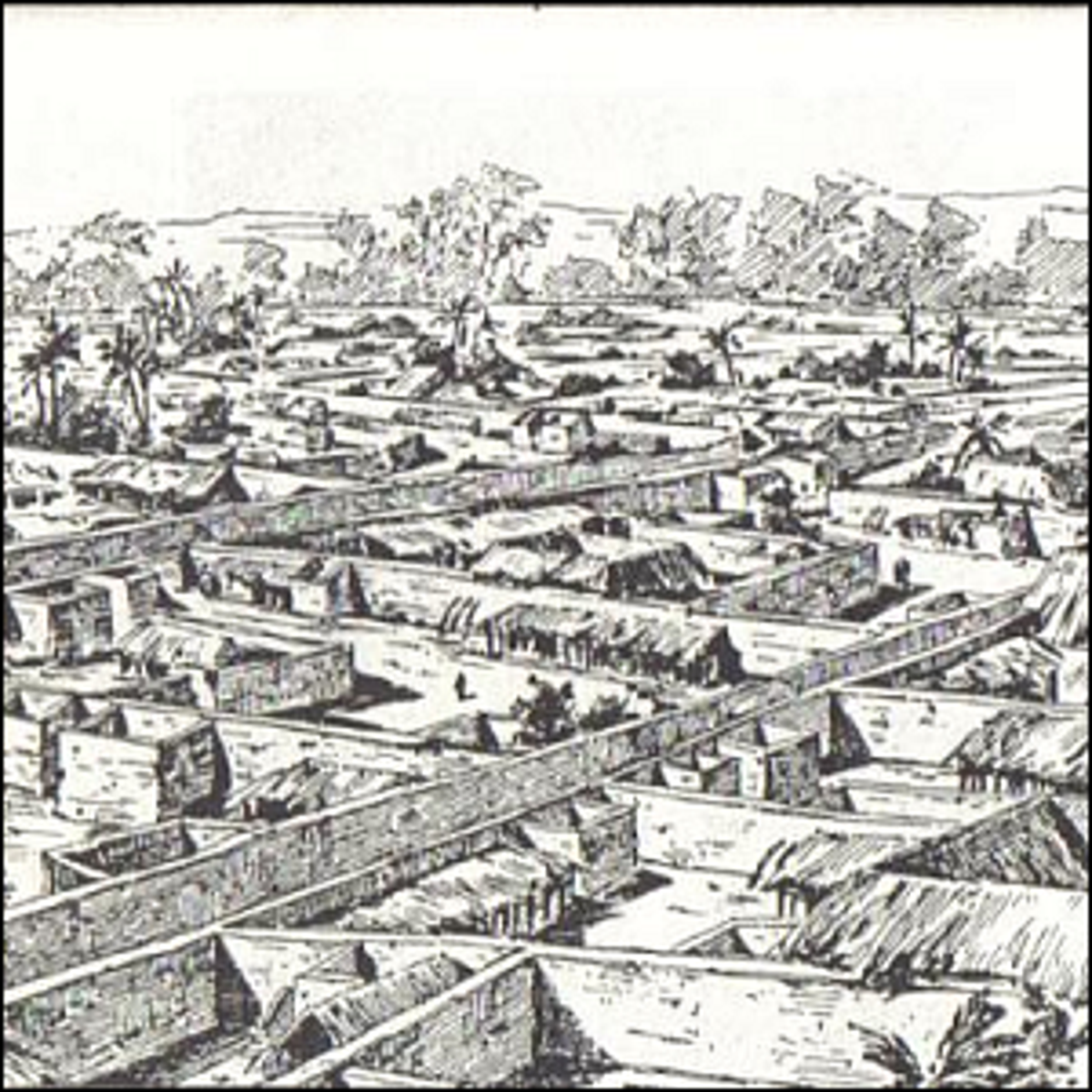 A drawing of Benin City made by an English officer in 1897.