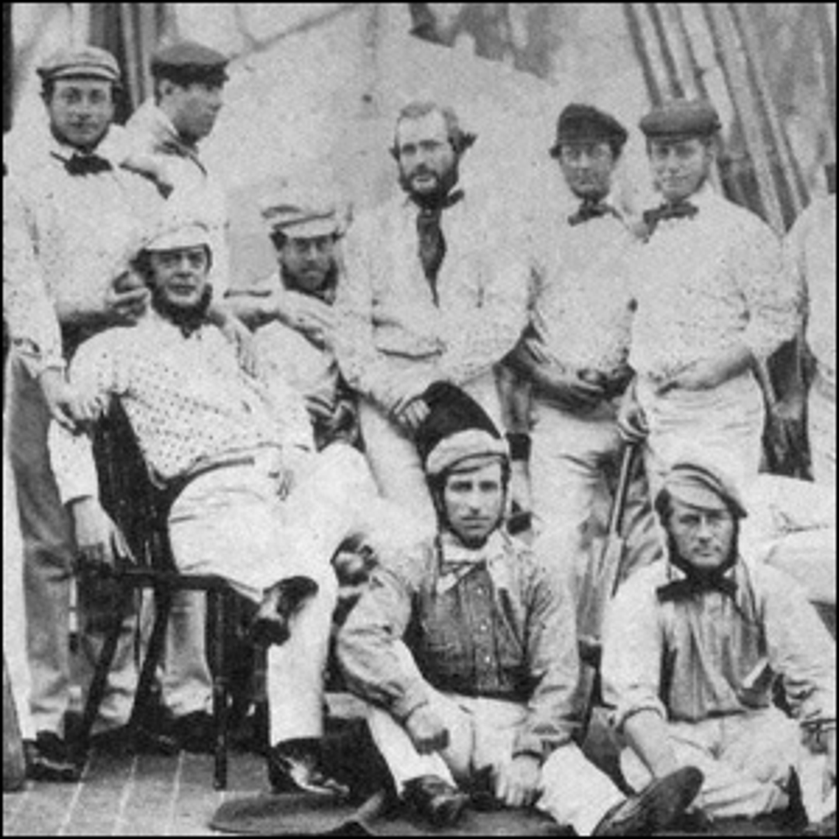 The 1859 English cricket team traveling to North America to play.