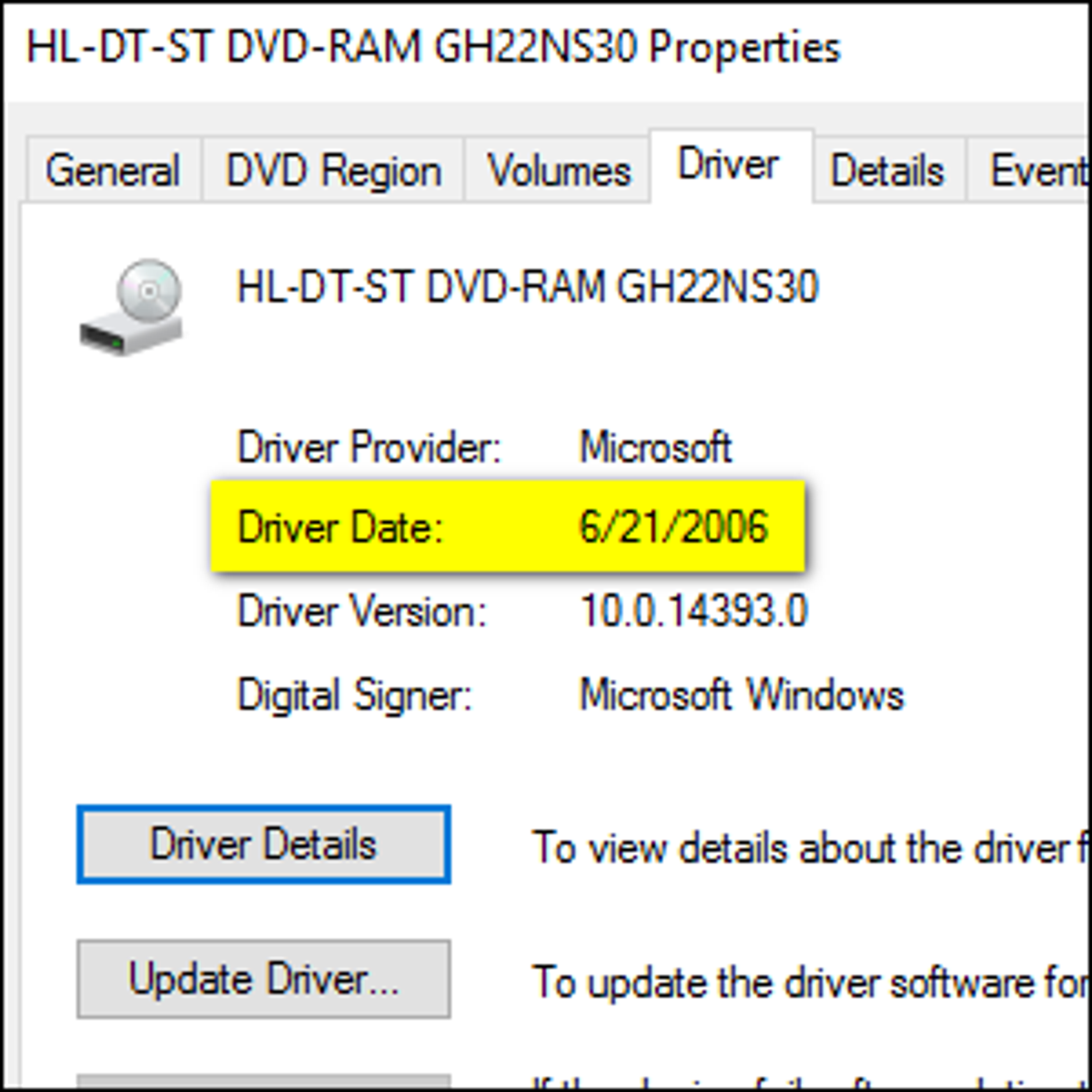The driver date being displayed for a Windows driver.