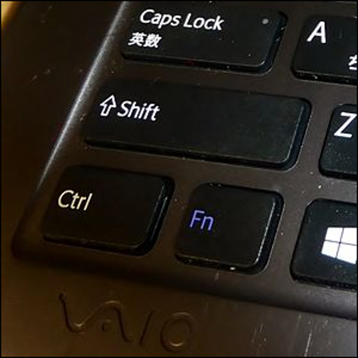 The shift key on a VAIO Duo 11 laptop.