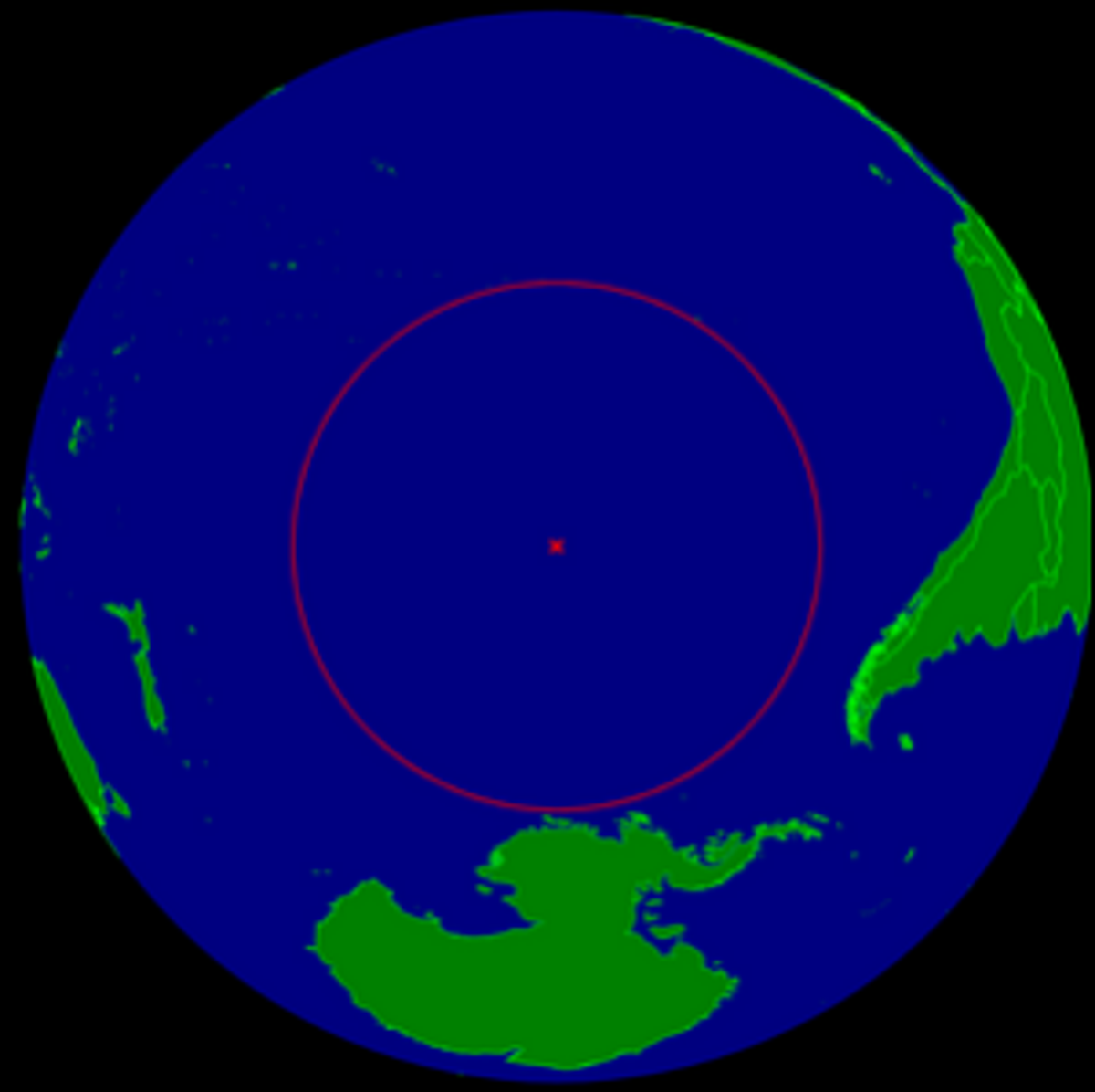 A spherical Earth centered on the oceanic pole of inaccessibility in the Southern Pacific ocean.