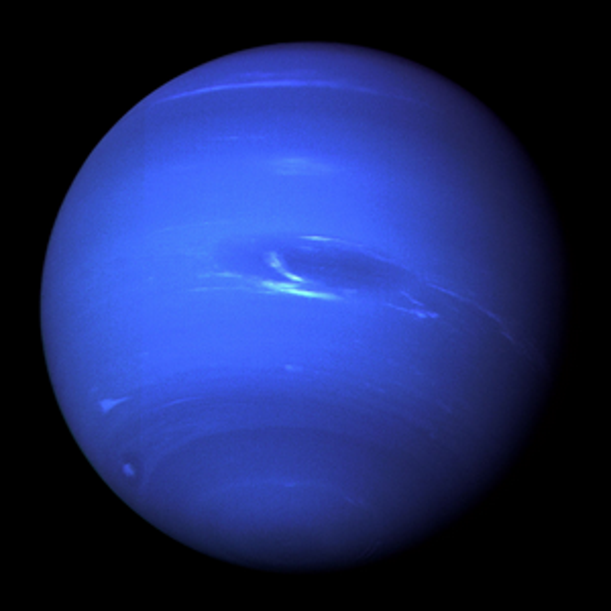 A photo of Neptune taken on August 20, 1989 during Voyager 2's flyby.