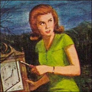 The 1965 front cover artwork for The Secret of the Old Clock.