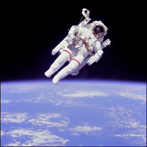 Astronaut Bruce McCandless II during his untethered EVA near the Space Shuttle Challenger in 1984.