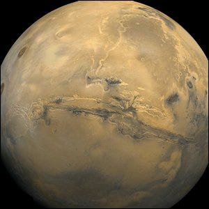 Valles Marineris, the largest canyon in the Solar System, is easily seen from space.