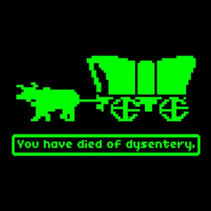"""The well known """"You have died of dysentery."""" message screen in Oregon Trail."""