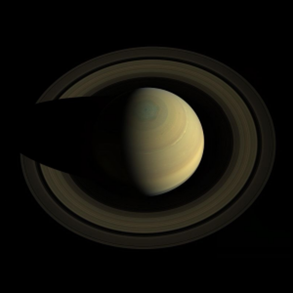 A photo of Saturn taken from above by NASA's Cassini spacecraft.