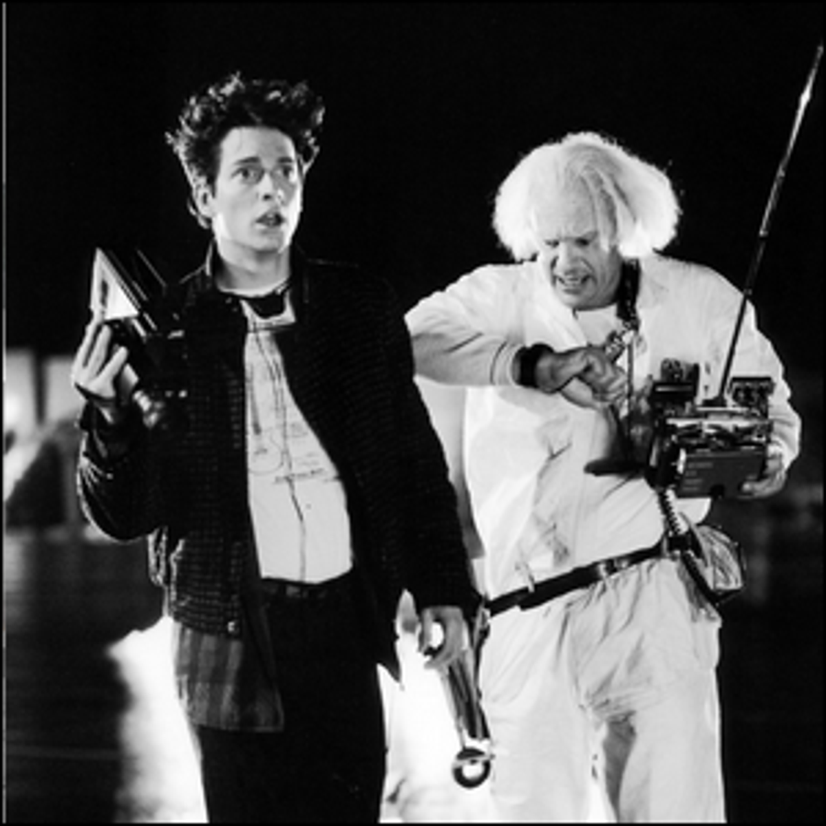 Actors Eric Stoltz and Christopher Lloyd during the early filming of Back to the Future.