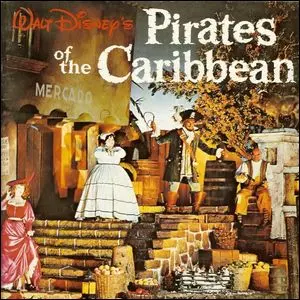 A promotional poster for a Pirates of the Caribbean attraction.