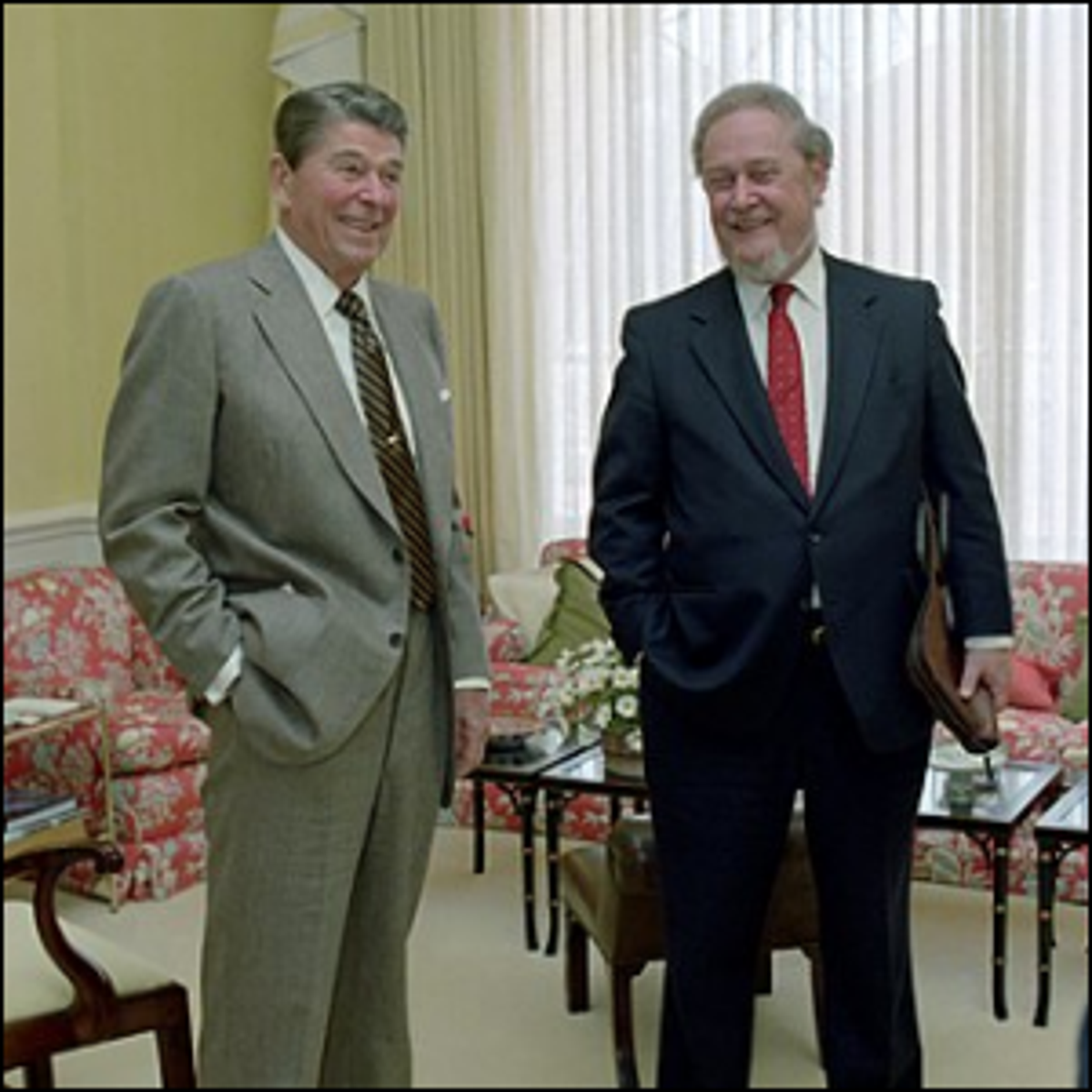 Ronald Reagan meeting with Robert Bork in The White House.