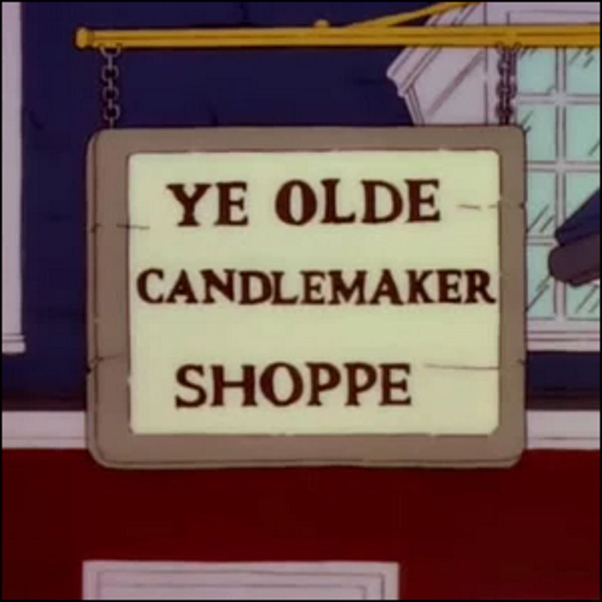 """Hanging sign for the """"Ye Olde Candlemaker Shoppe"""" from the Simpsons."""