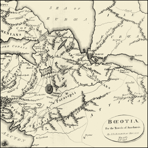 An 18th century map of ancient Boeotia.