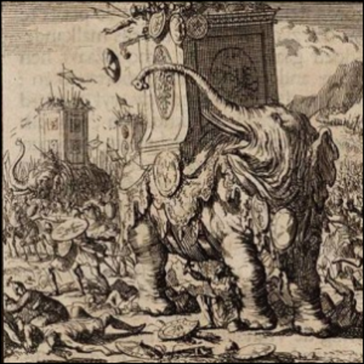 War elephants being used in an ancient battle.