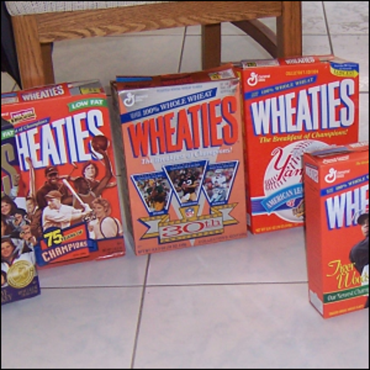 Wheaties boxes from the late 1990s and forward that feature athletes and teams on the front of the box.