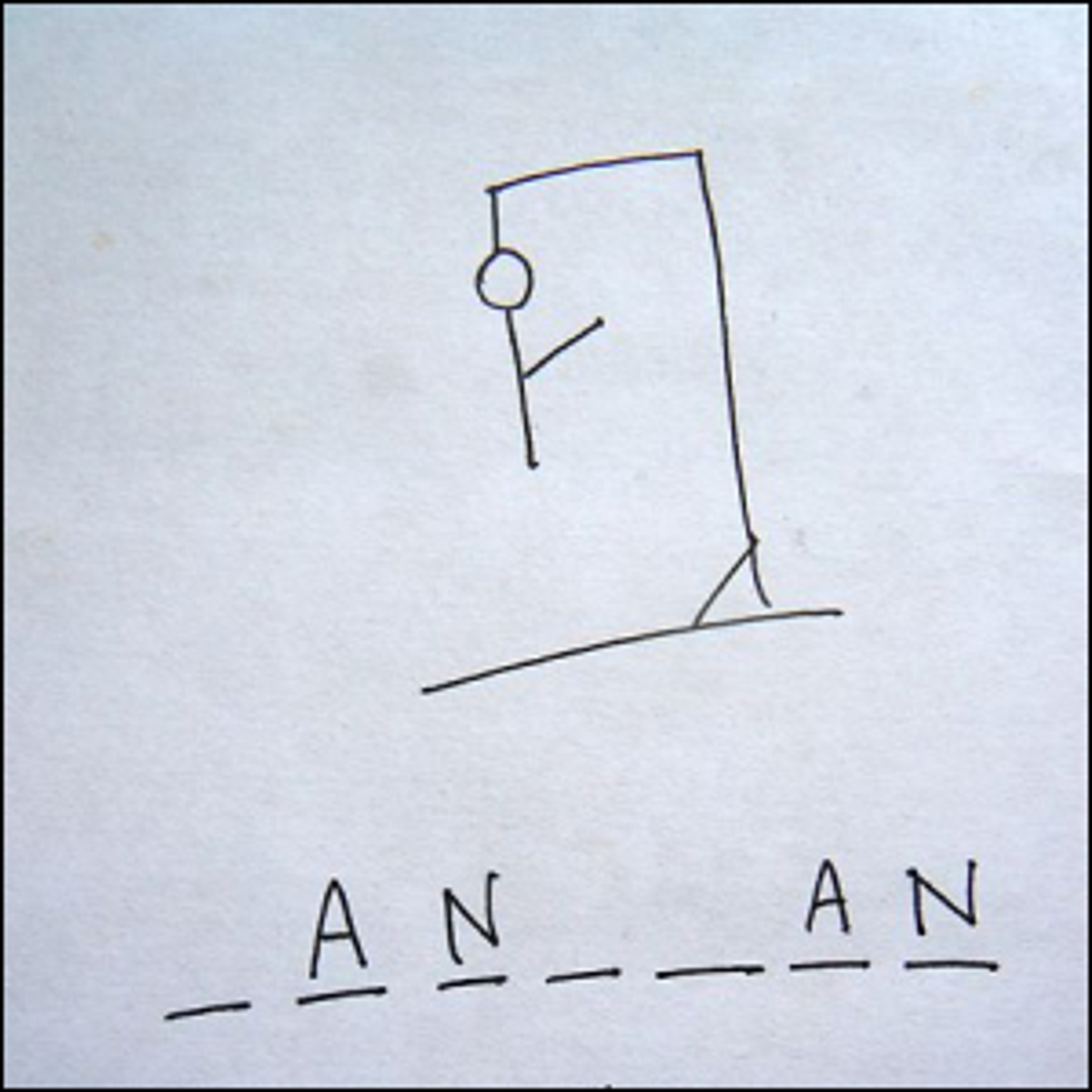 A partially finished pen-and-paper game of Hangman.