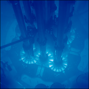 Cherenkov radiation glowing in the core of the Advanced Test Reactor.