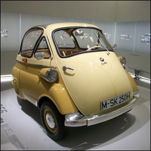 Photo of a 1955 BMW Isetta 250 in the BMW Museum, Munich, Germany.