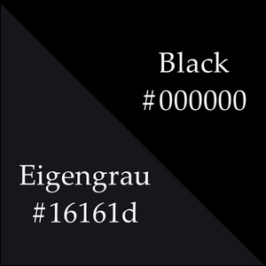 A comparison between the color eigengrau and the color black along with their color codes.