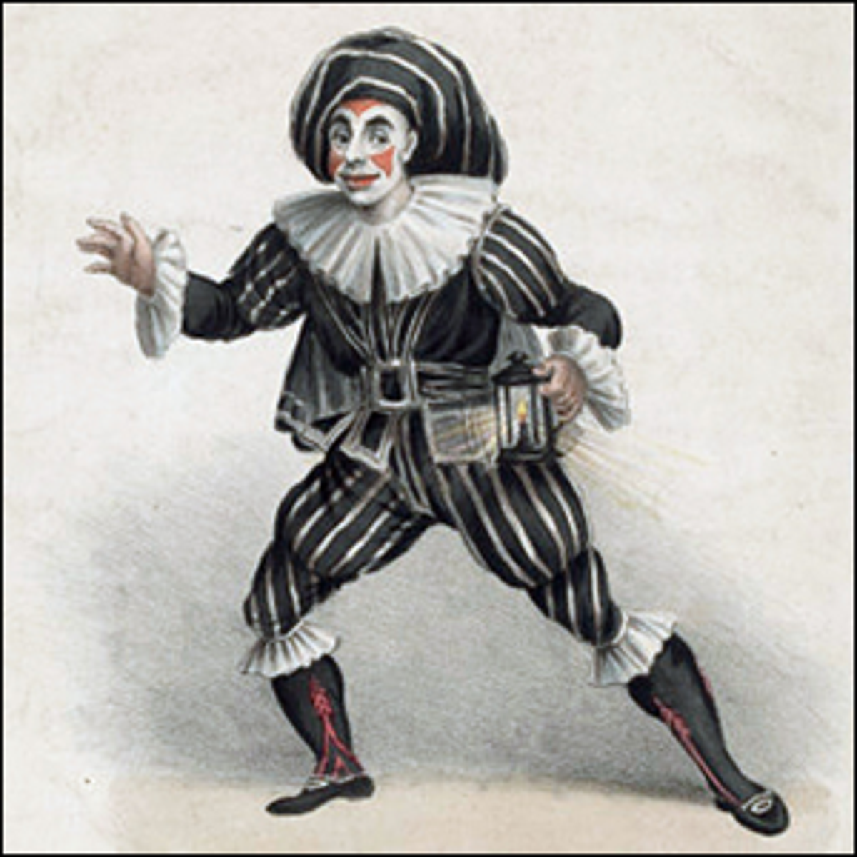 A hand-colored lithograph print of the actor J.S. Grimaldi as Scaramouche.