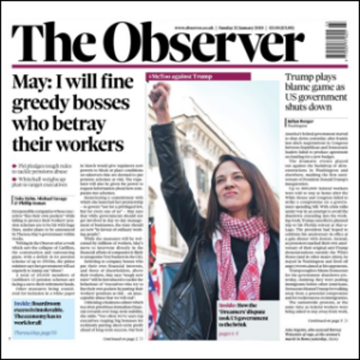 The front page of The Observer, January 21, 2018.