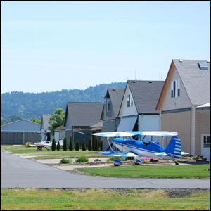 Hangar homes at Independence State Airport in Oregon.