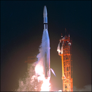 The launch of the Atlas LV-3 Agena-B rocket carrying Mariner 1.