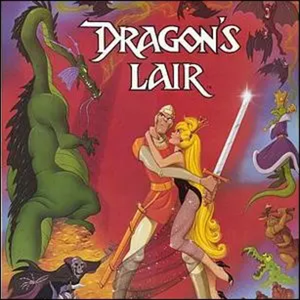 The promotional poster artwork for the video game Dragon's Lair.