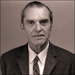 A photo of ornithologist James Bond taken at the Academy of Natural Sciences, Philadelphia in 1974.