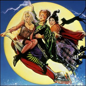 The Sanderson Sisters flying through the air.