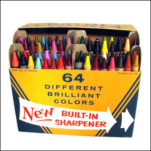 A photo of the first version of the Crayola 64 count box (opened).