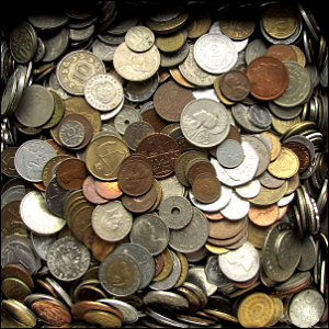 A collection of various coins from across the world.