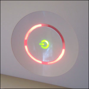 An Xbox 360 showing the infamous Ring of Death.
