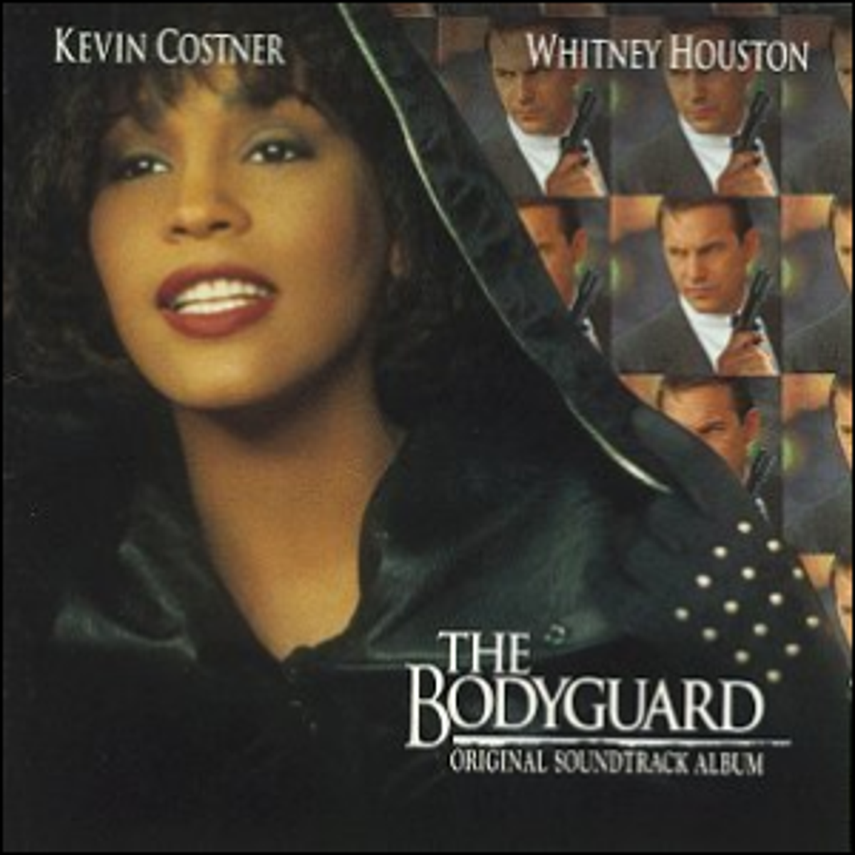The front cover artwork for the movie soundtrack of The Bodyguard.