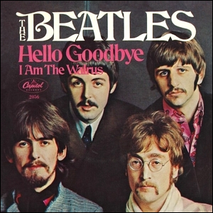 "The cover art for the singles release of ""I Am the Walrus"" by The Beatles."