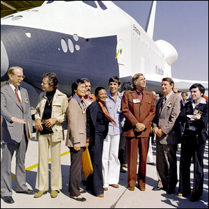 The public unveiling of the space shuttle Enterprise with Star Trek TOS cast members in attendance.